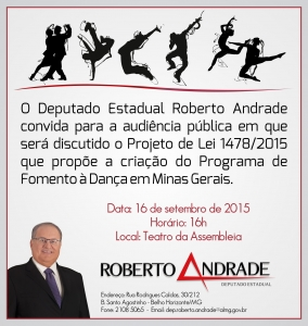 Projeto que cria a lei de fomento à dança é de autoria do deputado Roberto Andrade